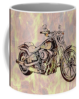 Coffee Mug featuring the mixed media Harley Motorcycle On Flames by Dan Sproul