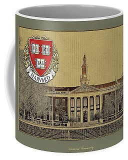 Harvard University Building Overlaid With 3d Coat Of Arms Coffee Mug