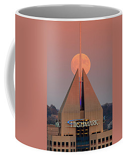Coffee Mug featuring the photograph Harvest Moon In Pittsburgh  by Emmanuel Panagiotakis
