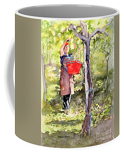 Coffee Mug featuring the painting Harvesting Anna's Grapes by Bonnie Rinier