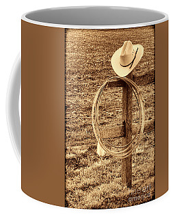 Hat And Lariat On A Post Coffee Mug