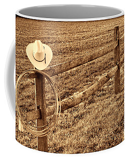 Hat And Lasso On Fence Coffee Mug