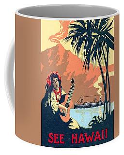 Hawaii, Hula Girl Welcomes Tourist Ship With Traditional Music Coffee Mug