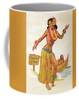 Hawaii, Hula Girl Welcomes You With Her Dog Coffee Mug
