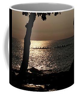 Hawaiian Dugout Canoe Race At Sunset Coffee Mug