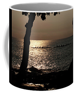 Hawaiian Dugout Canoe Race At Sunset Coffee Mug