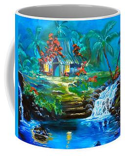 Hawaiian Hut And Waterfalls Coffee Mug by Jenny Lee