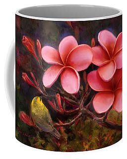 Hawaiian Pink Plumeria And Amakihi Bird Coffee Mug