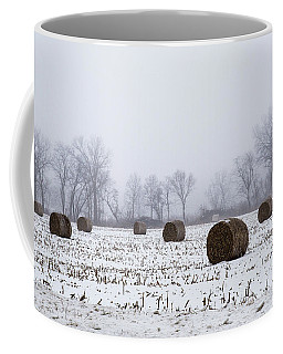 Hay Bales In The Snow Coffee Mug