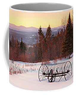 Hay Rake At Winter Sunset Coffee Mug