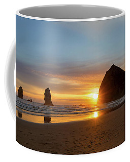 Haystack Rock At Cannon Beach During Sunset Coffee Mug