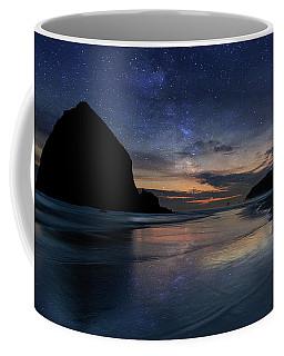 Haystack Rock Under Starry Night Sky Coffee Mug