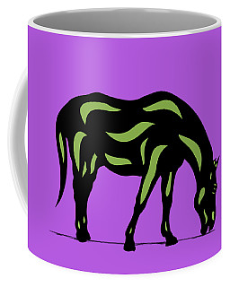 Hazel - Pop Art Horse - Black, Greenery, Purple Coffee Mug