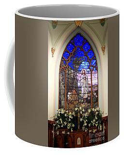 He Is Risen Stained Glass Window Coffee Mug