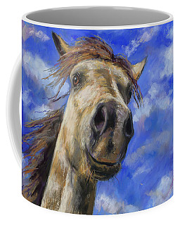 Coffee Mug featuring the pastel Head In The Clouds by Billie Colson
