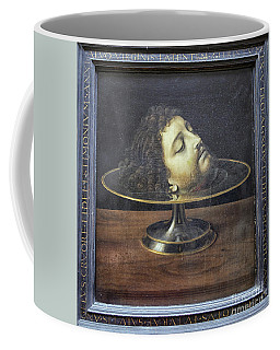Coffee Mug featuring the photograph Head Of John The Baptist, 1507, With Frame And Inscription -- By by Patricia Hofmeester