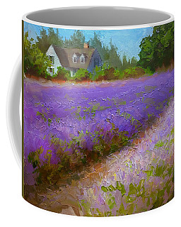 Impressionistic Lavender Field Landscape Plein Air Painting Coffee Mug by Karen Whitworth