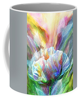 Coffee Mug featuring the mixed media Healing Poppy With Butterflies by Carol Cavalaris