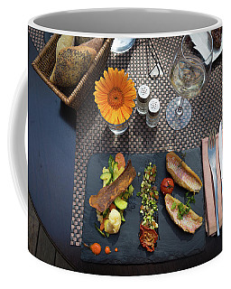 Coffee Mug featuring the photograph Health Fish Dish Served At A French Restaurant by Semmick Photo