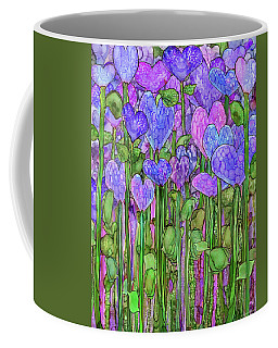 Coffee Mug featuring the mixed media Heart Bloomies 1 - Purple by Carol Cavalaris