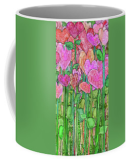 Coffee Mug featuring the mixed media Heart Bloomies 2 - Pink And Red by Carol Cavalaris
