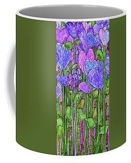 Coffee Mug featuring the mixed media Heart Bloomies 2 - Purple by Carol Cavalaris