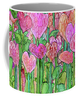 Coffee Mug featuring the mixed media Heart Bloomies 3 - Pink And Red by Carol Cavalaris