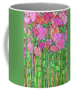 Coffee Mug featuring the mixed media Heart Bloomies 1 - Pink And Red by Carol Cavalaris