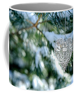 Heart Ornament On Snowy Pine Tree Coffee Mug