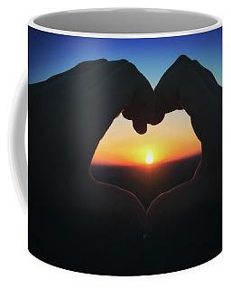 Heart Shaped Hand Silhouette - Sunset At Lapham Peak - Wisconsin Coffee Mug by Jennifer Rondinelli Reilly - Fine Art Photography