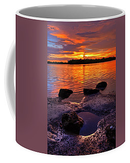Heart Shaped Pool At Sunset Over Lake Worth Lagoon On Singer Island Florida Coffee Mug