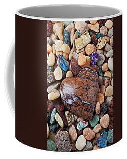 Heart Stone Among River Stones Coffee Mug