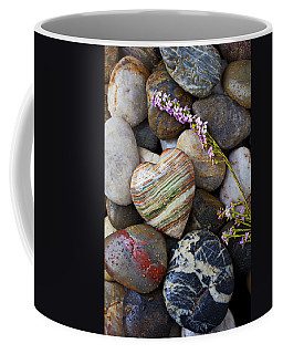 Heart Stone With Wild Flower Coffee Mug