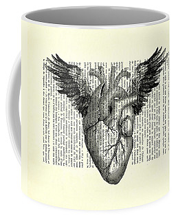 Heart With Wings In Black And White Coffee Mug
