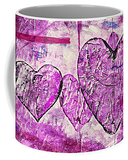 Coffee Mug featuring the painting Hearts Abstract by Lita Kelley