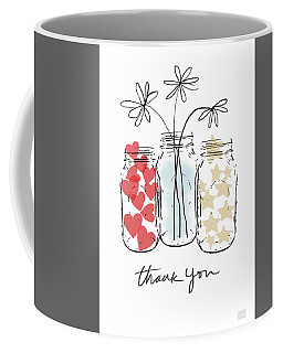 Coffee Mug featuring the mixed media Hearts And Stars Thank You- Art By Linda Woods by Linda Woods