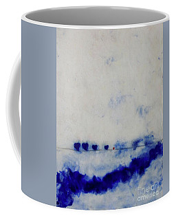 Coffee Mug featuring the painting Hearts On A Wire by Kim Nelson
