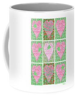 Hearts Within Hearts In Green And Pink Coffee Mug by Lise Winne