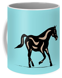 Heinrich - Pop Art Horse - Black, Hazelnut, Island Paradise Blue Coffee Mug