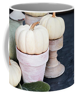 Heirloom And Mini Pumpkins On Rustic Table Coffee Mug