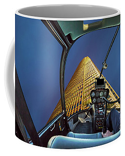 Helicopter On Skyscaper Facade Coffee Mug