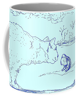 Coffee Mug featuring the drawing Hello Birdie by Denise Fulmer
