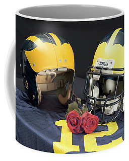 Helmets Of Different Eras With Jersey And Roses Coffee Mug