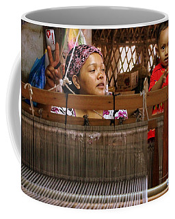 Helping Mom With The Weaving Coffee Mug by Laurel Talabere