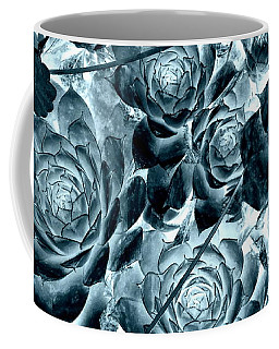 Hens And Chicks - Indigo Teal Blue Coffee Mug by Janine Riley
