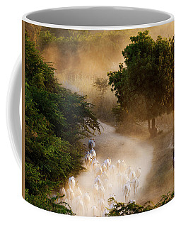 Coffee Mug featuring the photograph herd and farmer going home in the evening, Bagan Myanmar by Pradeep Raja Prints