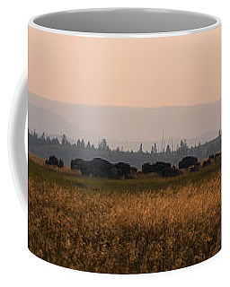 Herd Of Bison Grazing Panorama Coffee Mug