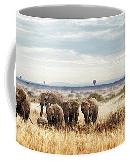 Herd Of Elephant In Kenya Africa Coffee Mug
