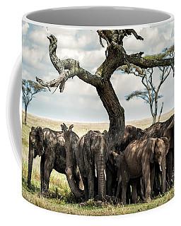 Herd Of Elephants Under A Tree In Serengeti Coffee Mug