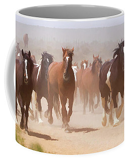 Coffee Mug featuring the digital art Herd Of Horses During The Great American Horse Drive On A Dusty Road by Nadja Rider
